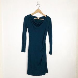 Banana Republic teal cowl neck dress